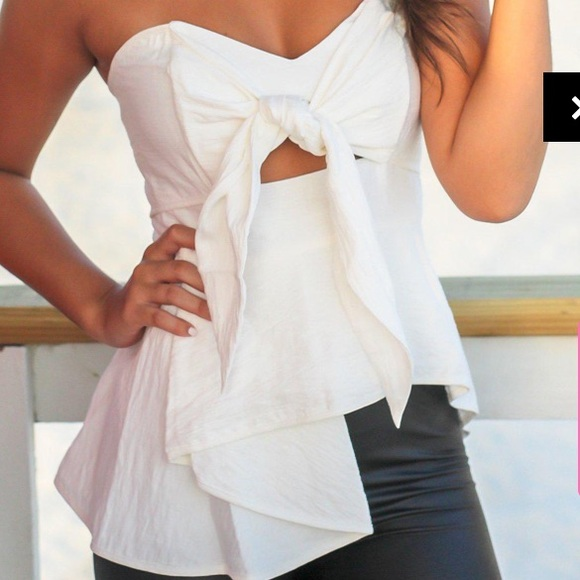 saved by the dress Tops - bow tie front strapless top